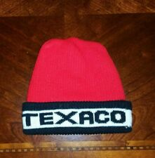 332a76e6034 New ListingVintage Texaco Hat Ski Cap Beanie Pom Knit Bright Red   Black  Retro