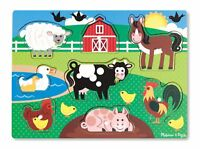 Melissa & Doug - Farm Animals Wooden Peg Puzzle Jigsaw Pre School NEW