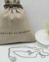 David Yurman Sterling Silver heart with pave Diamonds pendant necklace
