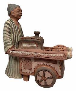 Vintage Signed Folk Art Pottery Middle Eastern Man Pushing Cart Statue Figure
