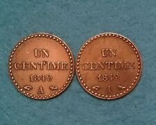 Lot 1 CENTIME 1849 A Dupré (Avec point) IIe République Paris F.101/2 & 3 - SPL