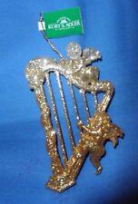 Harp With Angels Golden Glitter Music Christmas Ornament-  Kurt Adler