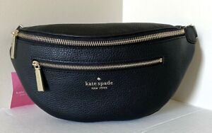 New Kate Spade New York Leila Belt bag Pebble Leather Black