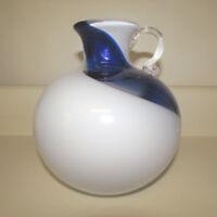 Japanese Kamei Pitcher Vase Swirl Jug Japan Art Glass Blown Label Blue White