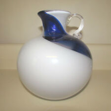 Japanese Kamei Vase Swirl Jug Japan Art Glass Blown Label Intact Blue White