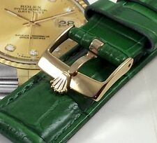 ROLEX 16mm Gold Plated Buckle 20mm Crocodile Pattern GREEN Genuine Leather