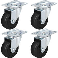 "4 PK 2"" Swivel Caster Wheels Hard Rubber Base with Top Plate & Bearing"