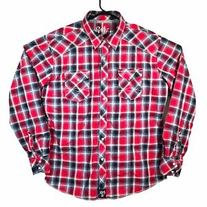 Rock47 By Wrangler Western Pearl Snap Plaid Embroidered Button Down Men's XL