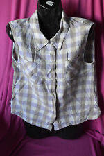 ladies preowned sleeveless top by yarra trail.size 12.colour lilac/beige squares