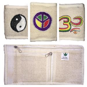 Hemp Bifold Wallet Purse Natural Zip Up Card Coin Money Hippy Unisex Eco Yin CBD