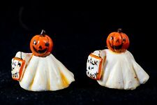 Dollhouse Miniatures Pair of Little Jack-o-lantern Ghosts by Robin Betterley '80