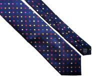 SAVILE ROW LONDON Mens Navy Blue Multicoloured Polka Dot Spot Silk Tie > RRP £50