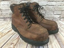 WELLCO Moc Toe Brown Leather STEEL TOE Work Boots Men's 10 Wide