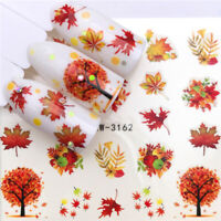 Flower Tree Christmas Nail Water Decals Transfer Stickers Nail Art Maple Leaf