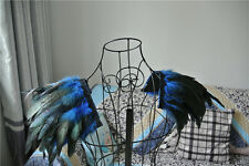 royal blue rooster coque feather epaulette pads Carnival feather shoulder shrug