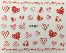 Nail Art 3D Decal Stickers Hearts Stripes & Polka Dots Valentine's Day E183