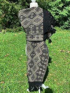Fringed Cotton Rebozo Wrap Shawl Woven Pattern 6.5x2.4 Mexican Black Beige 2020