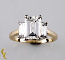 14k Yellow Gold 1.52 Carat Emerald Cut Diamond Engagement Ring TDW = 2.32 carats