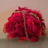 GUCCI borsa, mini borsa, piume rosse e catena dorata, Made in Italy