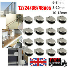 More details for 48x glass clamp stainless steel 304 clip flat back bracket for balustrade 6-12mm