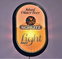 Vtg. Natural Light Pilsner Schlitz Beer Wall Light Sign, Used Working Well