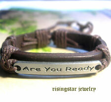 """Men """"Are You Ready"""" Leather Fashion Surfer Biker Character Bracelet Wristband"""