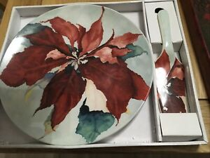 large poinsettia 30cm Cake Plate With Server