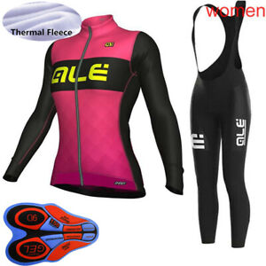 2020 Womens Winter Thermal Fleece Cycling Jersey Bike Shirt Bib Long pants Suit