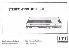ITT manuel d'utilisation stéréo 4500 HIFI régie