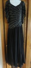 Lot of 2 NWT J Kara Black Chiffon Gown with Starburst bead design ~ Size 8 & 10