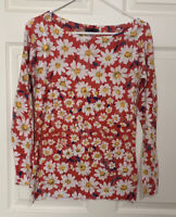 Read Women's Nally Millie Top Red Daisies M/L Long Sleeve Light Weight Shirt