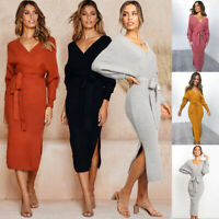 Bodycon Party Pencil Long Sleeve Dress Knitted Sweater V Neck Women Ladies