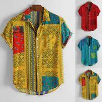 Mens Vintage Ethnic Printed Turn Down Collar Short Sleeve Tops Shirts Blouse