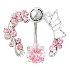 Sexy Pink Crystal Flower Navel Belly Button Ring Bar Body Piercing Jewelry Gift