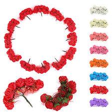 144Pcs Colourfast Foam Rose Artificial Flower Wedding Bride Bouquet Decor DIY