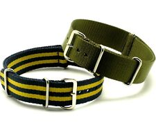 18mm Military Green + Blue/Yellow Nylon Replacement Divers Watch Band - Seiko 18