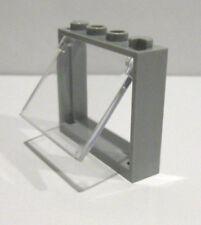 1 x LEGO® 60594 Fenster mit Glas Klappfenster,klar 1x4x3 neuhellgrau neu.