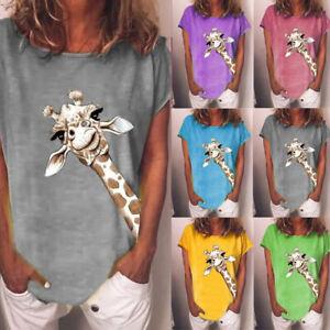 Womens Short Sleeve Giraffe T-Shirt Tops Ladies Casual Loose Blouse Summer Tee