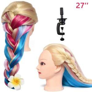 27'' Salon Human Hair Practice Training Head Hairdressing Mannequin Doll & Clamp