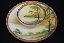 Vintage HAND PAINTED Landscape NIPPON JAPAN 2-Tier Dip Plate, Beaded Enamel