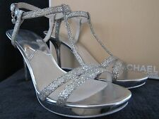 MICHAEL KORS Womens Yvonne Platform Silver Glitter Leather Heels Shoes US 10 NWB