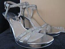 MICHAEL KORS Yvonne Platform Silver Glitter Leather Heels Shoes Size US 9.5 NWB