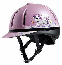 TROXEL small childrens LEGACY SLIM PROFILE pink unicorn HORSE TACK RIDING HELMET