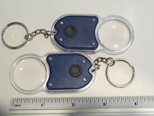 SET OF 2 KEYCHAIN MAGNIFIER WITH LIGHT- BLUE MULTI PURPOSE ITEM