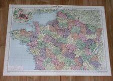 1940 ORIGINAL VINTAGE WWII MAP OF NORTHERN FRANCE / PARIS INSET MAP