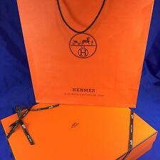 "Hermes Empty Purse Box Ribbon Tissue Paper Shopping Bag 17.5"" x 14.5"" x 4"""