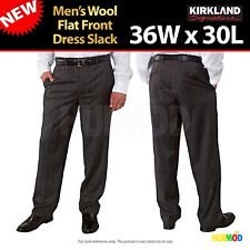 NEW Kirkland Signature Men's Wool Flat Front Dress Slack Pants 36x30 Grey Plaid
