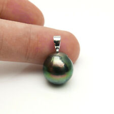 Big Natural Green Tahitian Cultured Pearl Pendant Solid 14k White Gold 12.5mm