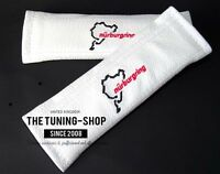 """2x Seat Belt Covers Pads White Leather """"Nürburgring"""" Embroidery"""