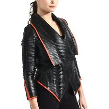 womens black red vegan leather jacket pleated lightweight
